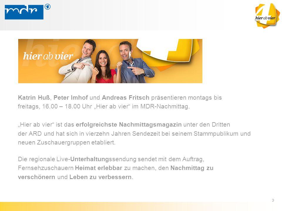 """3 Katrin Huß, Peter Imhof und Andreas Fritsch präsentieren montags bis freitags, 16.00 – 18.00 Uhr """"Hier ab vier"""" im MDR-Nachmittag. """"Hier ab vier"""" is"""