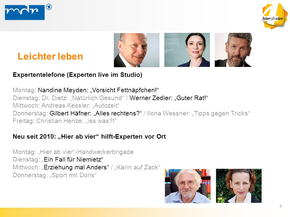 """9 Expertentelefone (Experten live im Studio) Montag: Nandine Meyden: """"Vorsicht Fettnäpfchen!"""" Dienstag: Dr. Dietz: """"Natürlich Gesund"""" / Werner Zedler:"""