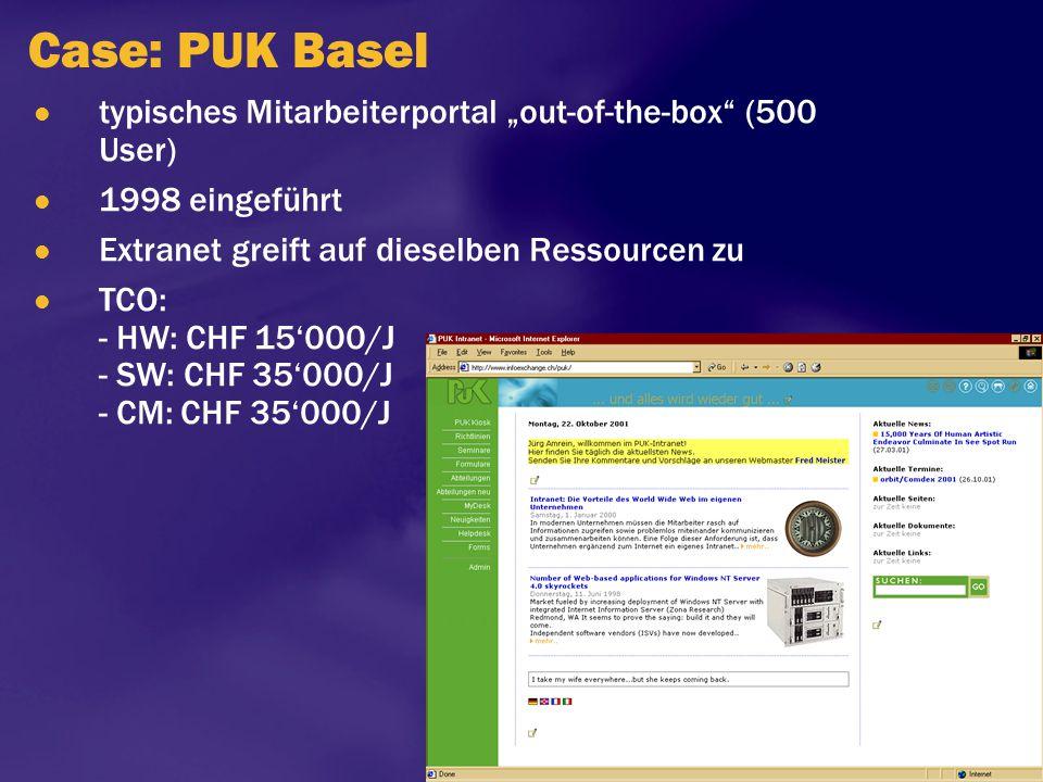 """Case: PUK Basel typisches Mitarbeiterportal """"out-of-the-box"""" (500 User) 1998 eingeführt Extranet greift auf dieselben Ressourcen zu TCO: - HW: CHF 15'"""