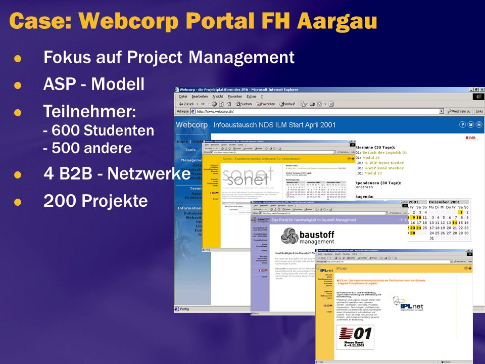 Case: Webcorp Portal FH Aargau Fokus auf Project Management ASP - Modell Teilnehmer: - 600 Studenten - 500 andere 4 B2B - Netzwerke 200 Projekte