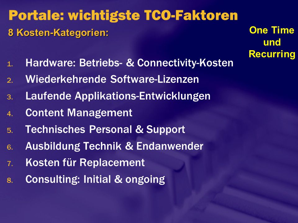 Portale: wichtigste TCO-Faktoren 1. Hardware: Betriebs- & Connectivity-Kosten 2. Wiederkehrende Software-Lizenzen 3. Laufende Applikations-Entwicklung