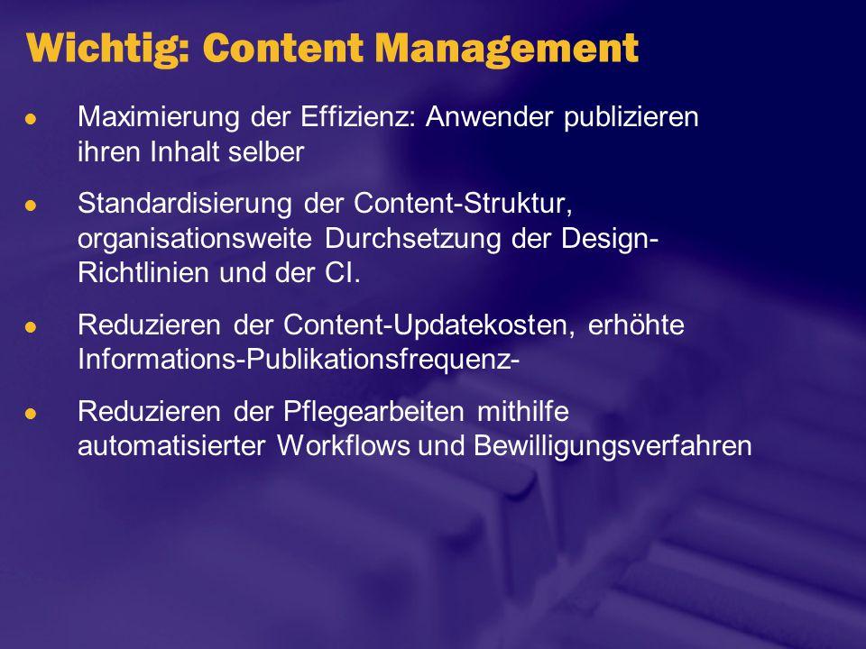 Wichtig: Content Management Maximierung der Effizienz: Anwender publizieren ihren Inhalt selber Standardisierung der Content-Struktur, organisationswe