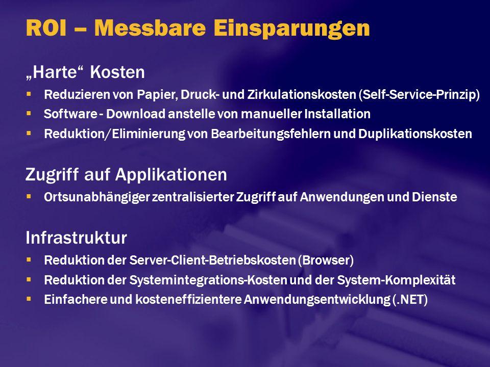 """ROI – Messbare Einsparungen """"Harte"""" Kosten  Reduzieren von Papier, Druck- und Zirkulationskosten (Self-Service-Prinzip)  Software - Download anstell"""