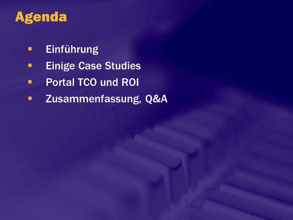 Agenda  Einführung  Einige Case Studies  Portal TCO und ROI  Zusammenfassung, Q&A