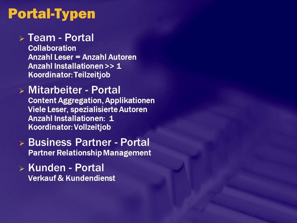 Portal-Typen  Team - Portal Collaboration Anzahl Leser = Anzahl Autoren Anzahl Installationen >> 1 Koordinator: Teilzeitjob  Mitarbeiter - Portal Co