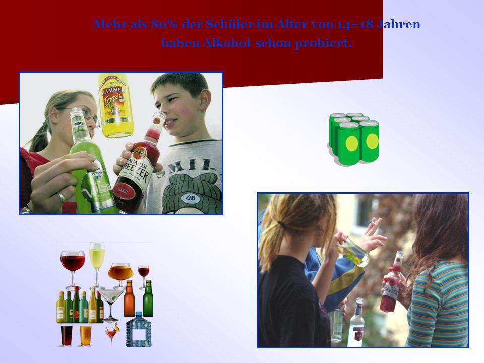 Mehr als 80% der Schüler im Alter von 14–18 Jahren haben Alkohol schon probiert.