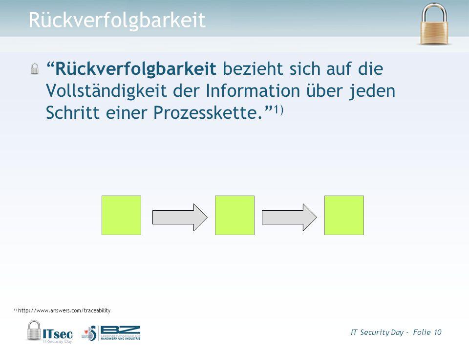 IT Security Day - Folie 10 Rückverfolgbarkeit Rückverfolgbarkeit bezieht sich auf die Vollständigkeit der Information über jeden Schritt einer Prozesskette. 1) 1) http://www.answers.com/traceability