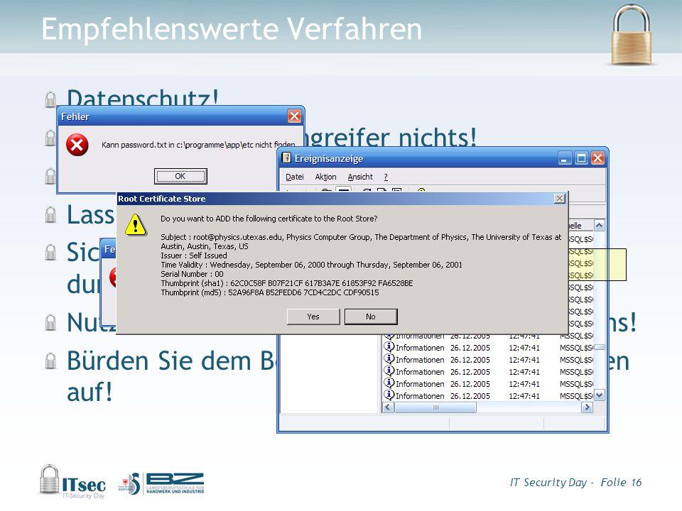 IT Security Day - Folie 16 Empfehlenswerte Verfahren Datenschutz.