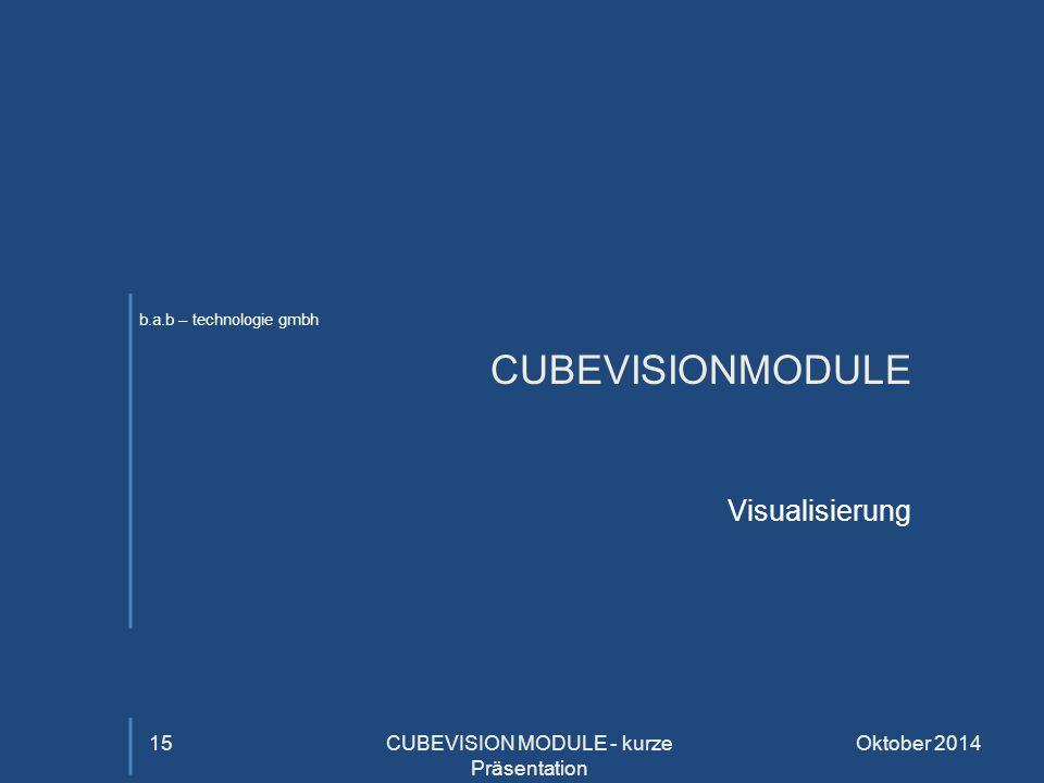 b.a.b – technologie gmbh CUBEVISIONMODULE Visualisierung Oktober 2014CUBEVISION MODULE - kurze Präsentation 15