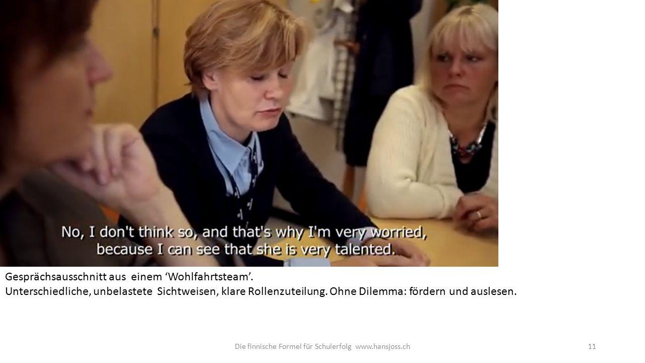 Die finnische Formel für Schulerfolg www.hansjoss.ch11 Gesprächsausschnitt aus einem 'Wohlfahrtsteam'.