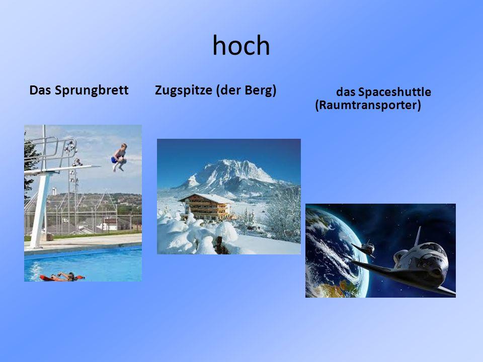 hoch Das Sprungbrett Zugspitze (der Berg) das Spaceshuttle (Raumtransporter)