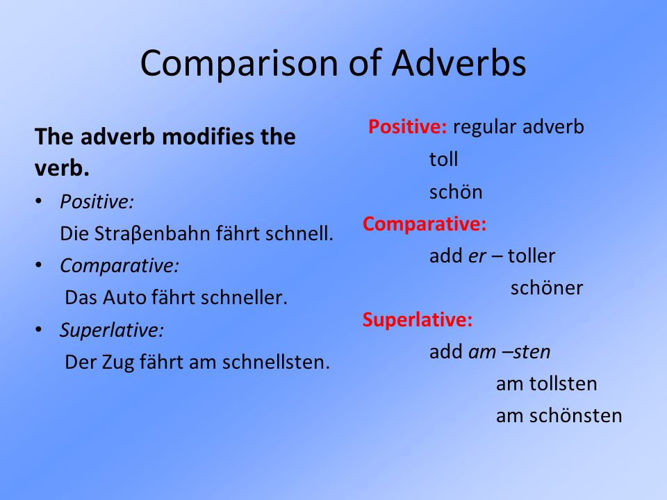 Comparison of Adverbs The adverb modifies the verb.