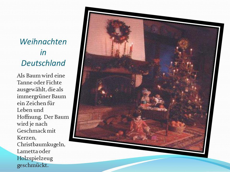 Weihnachten in Deutschland Als Baum wird eine Tanne oder Fichte ausgewählt, die als immergrüner Baum ein Zeichen für Leben und Hoffnung. Der Baum wird