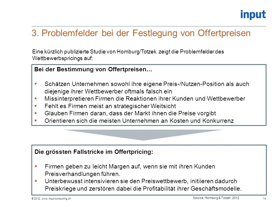 3. Problemfelder bei der Festlegung von Offertpreisen © 2012, www.input-consulting.ch14 Bei der Bestimmung von Offertpreisen…  Schätzen Unternehmen s
