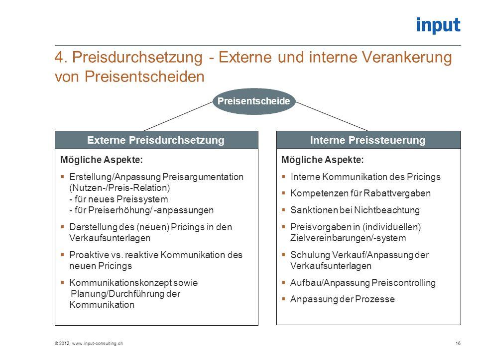 4. Preisdurchsetzung - Externe und interne Verankerung von Preisentscheiden © 2012, www.input-consulting.ch16 Externe Preisdurchsetzung Mögliche Aspek