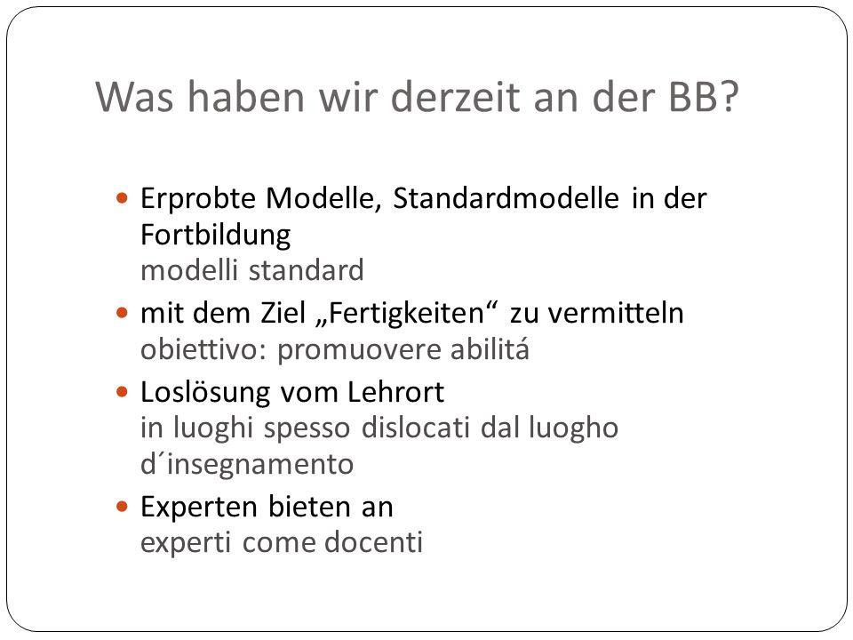 """Was haben wir derzeit an der BB? Erprobte Modelle, Standardmodelle in der Fortbildung modelli standard mit dem Ziel """"Fertigkeiten"""" zu vermitteln obiet"""