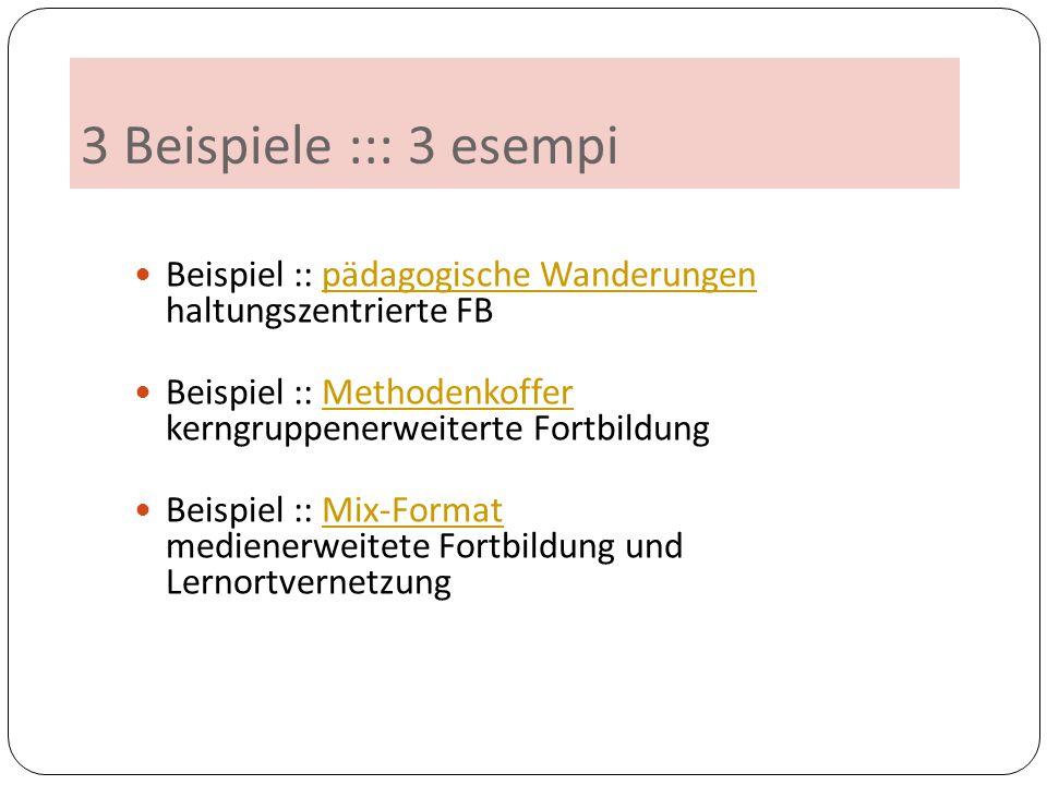 3 Beispiele ::: 3 esempi Beispiel :: pädagogische Wanderungen haltungszentrierte FBpädagogische Wanderungen Beispiel :: Methodenkoffer kerngruppenerwe