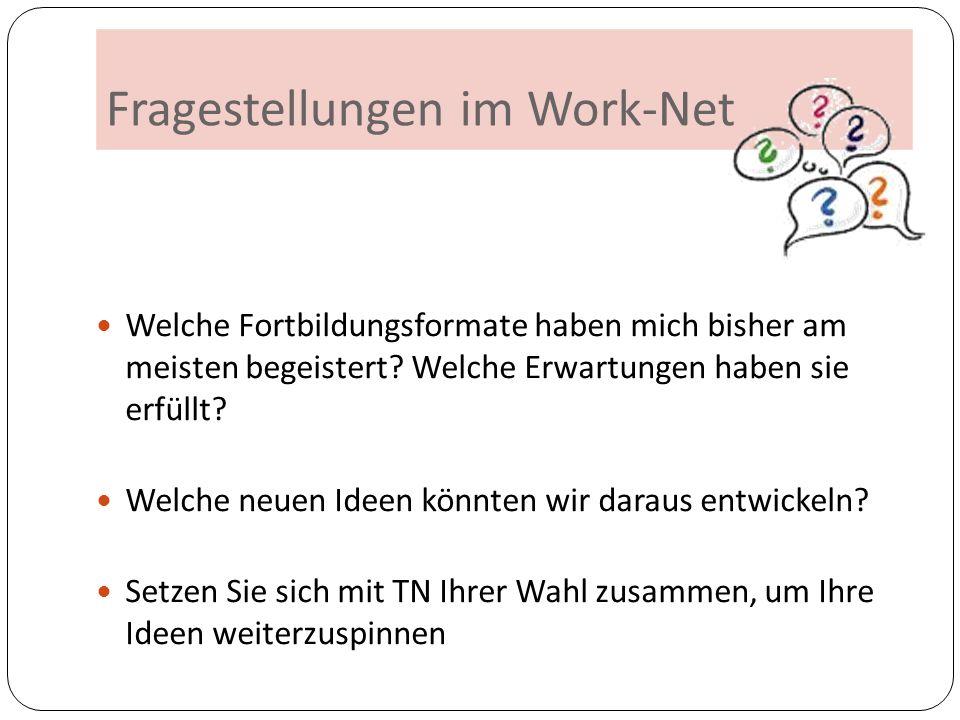 Fragestellungen im Work-Net Welche Fortbildungsformate haben mich bisher am meisten begeistert? Welche Erwartungen haben sie erfüllt? Welche neuen Ide