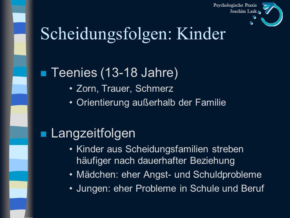 Psychologische Praxis Joachim Lask Scheidungsfolgen: Kinder n Grundschulalter II (7-8 Jahre) Traurigkeit Trennungsprobleme n Schulalter (9-12) sich vor anderen schämen intensiver Zorn Erschütterung des Selbstwertgefühls Loyalitätskonflikte