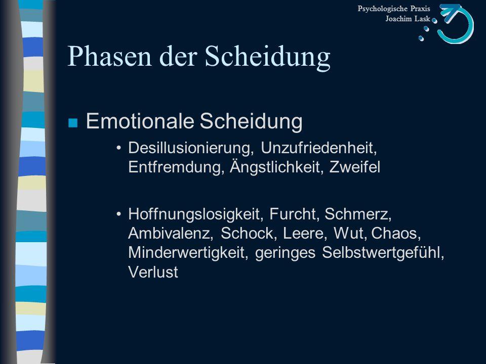 Psychologische Praxis Joachim Lask Scheidungsfolgen: Kinder n Teenies (13-18 Jahre) Zorn, Trauer, Schmerz Orientierung außerhalb der Familie n Langzei