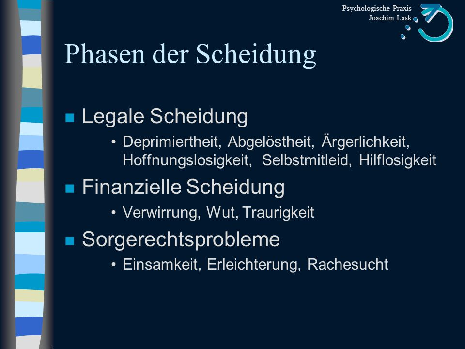 Psychologische Praxis Joachim Lask Phasen der Scheidung n Emotionale Scheidung Desillusionierung, Unzufriedenheit, Entfremdung, Ängstlichkeit, Zweifel