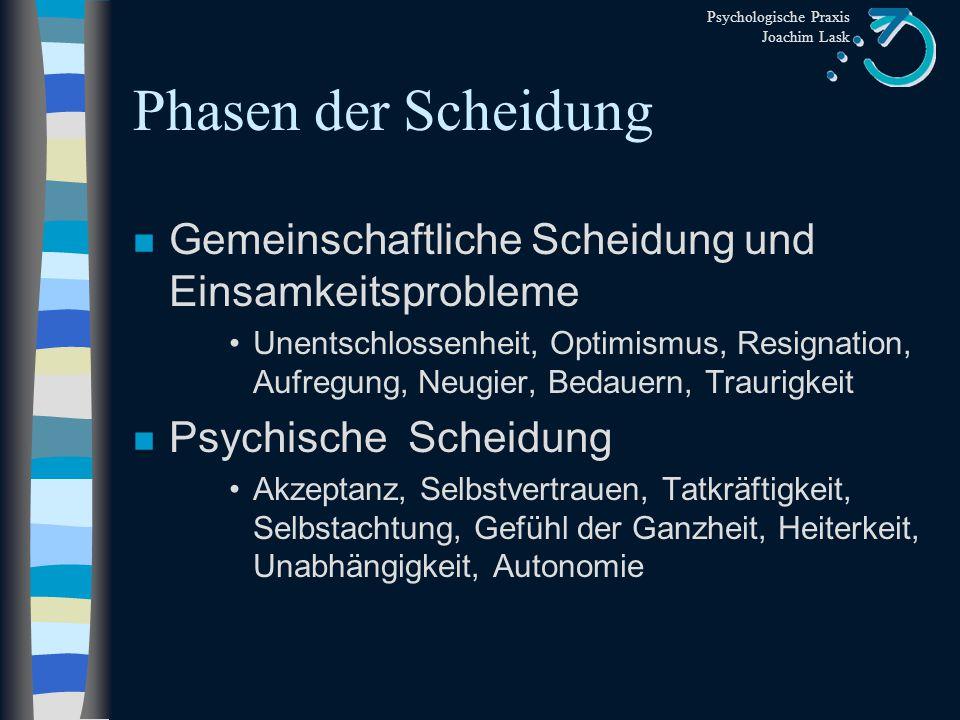 Psychologische Praxis Joachim Lask Phasen der Scheidung n Legale Scheidung Deprimiertheit, Abgelöstheit, Ärgerlichkeit, Hoffnungslosigkeit, Selbstmitl