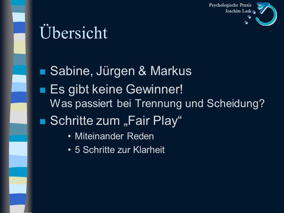 Psychologische Praxis Joachim Lask Übersicht n Sabine, Jürgen & Markus n Es gibt keine Gewinner.