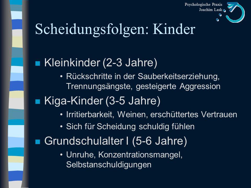 Psychologische Praxis Joachim Lask Scheidungsfolgen: Kinder n Langzeitstudie von Wallerstein & Blakslee (1989) Äußere Ordnung nach Scheidung Frauen: 3