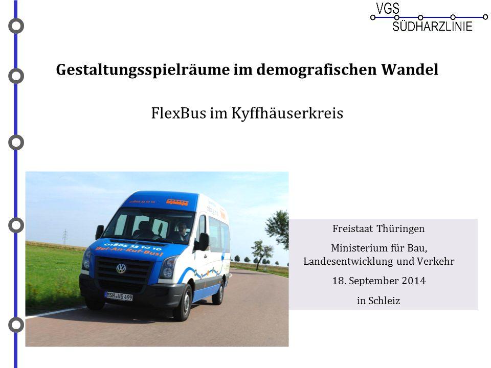 Gestaltungsspielräume im demografischen Wandel FlexBus im Kyffhäuserkreis Freistaat Thüringen Ministerium für Bau, Landesentwicklung und Verkehr 18. S
