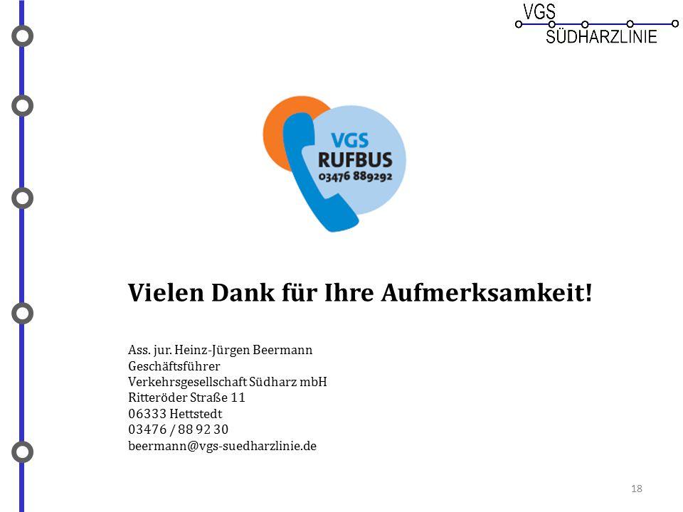 Vielen Dank für Ihre Aufmerksamkeit! Ass. jur. Heinz-Jürgen Beermann Geschäftsführer Verkehrsgesellschaft Südharz mbH Ritteröder Straße 11 06333 Hetts
