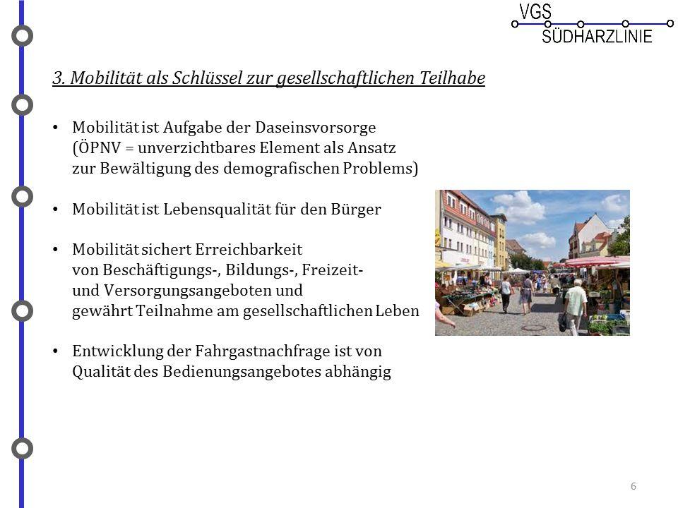 3. Mobilität als Schlüssel zur gesellschaftlichen Teilhabe Mobilität ist Aufgabe der Daseinsvorsorge (ÖPNV = unverzichtbares Element als Ansatz zur Be