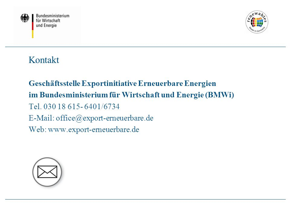 Logo Kontakt Geschäftsstelle Exportinitiative Erneuerbare Energien im Bundesministerium für Wirtschaft und Energie (BMWi) Tel.