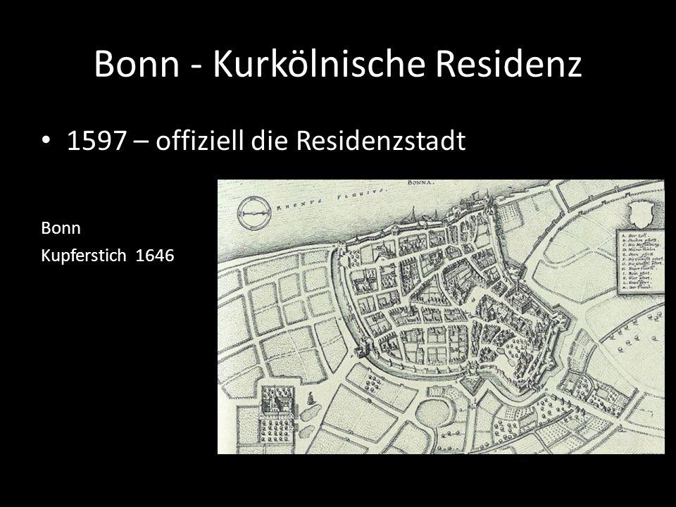Bonn - Kurkölnische Residenz 1597 – offiziell die Residenzstadt Bonn Kupferstich 1646