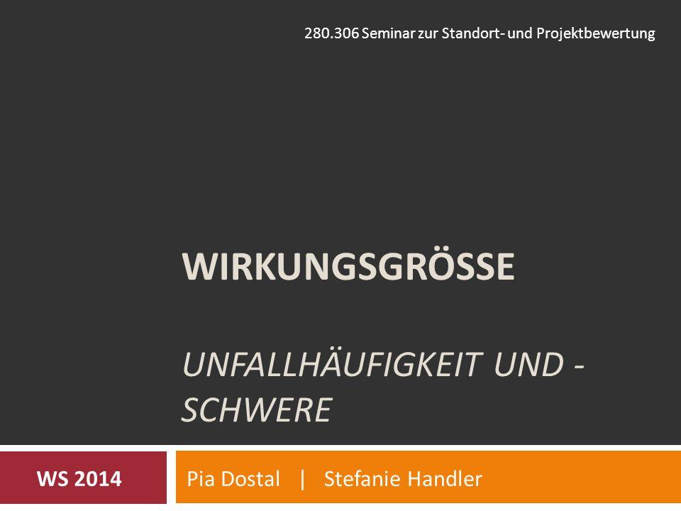 WIRKUNGSGRÖSSE UNFALLHÄUFIGKEIT UND - SCHWERE Pia Dostal | Stefanie HandlerWS 2014 280.306 Seminar zur Standort- und Projektbewertung