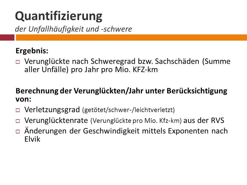 Quantifizierung der Unfallhäufigkeit und -schwere Ergebnis:  Verunglückte nach Schweregrad bzw.