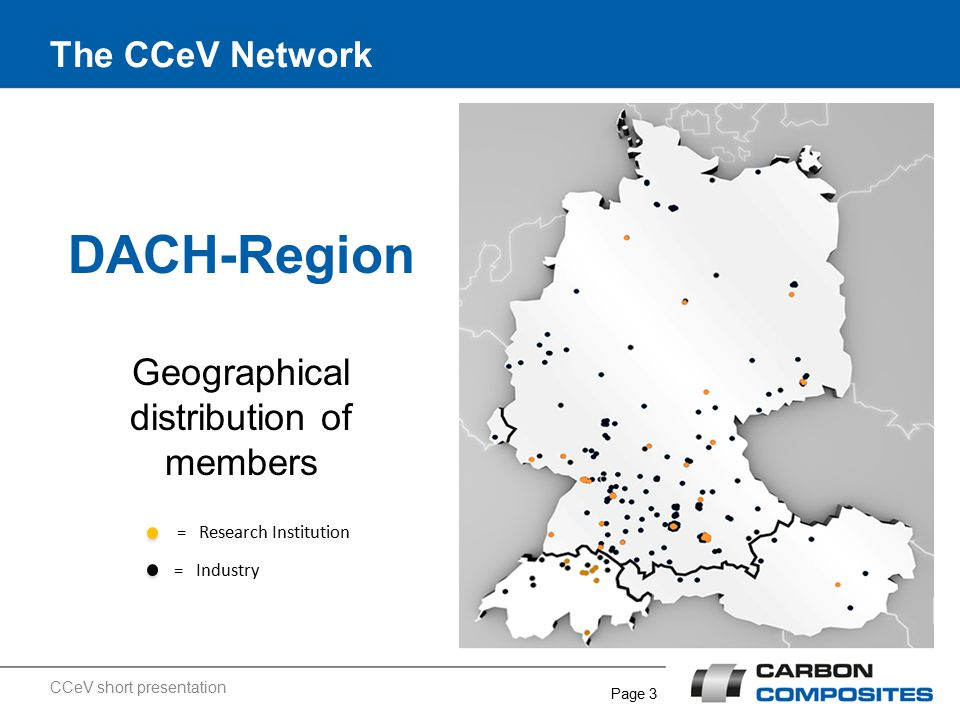 Page 3 The CCeV Network DACH-Region Geographical distribution of members = Research Institution = Industry CCeV short presentation