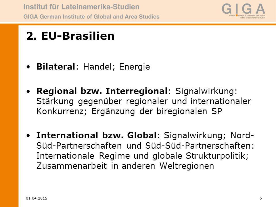 01.04.20156 2. EU-Brasilien Bilateral: Handel; Energie Regional bzw.