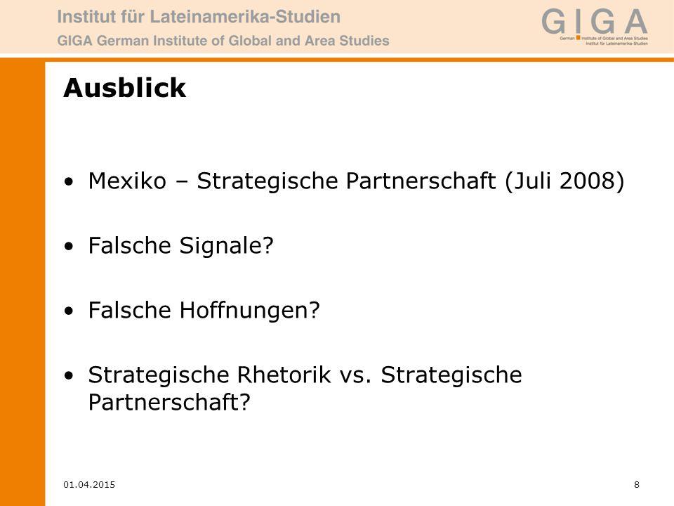 01.04.20158 Ausblick Mexiko – Strategische Partnerschaft (Juli 2008) Falsche Signale.