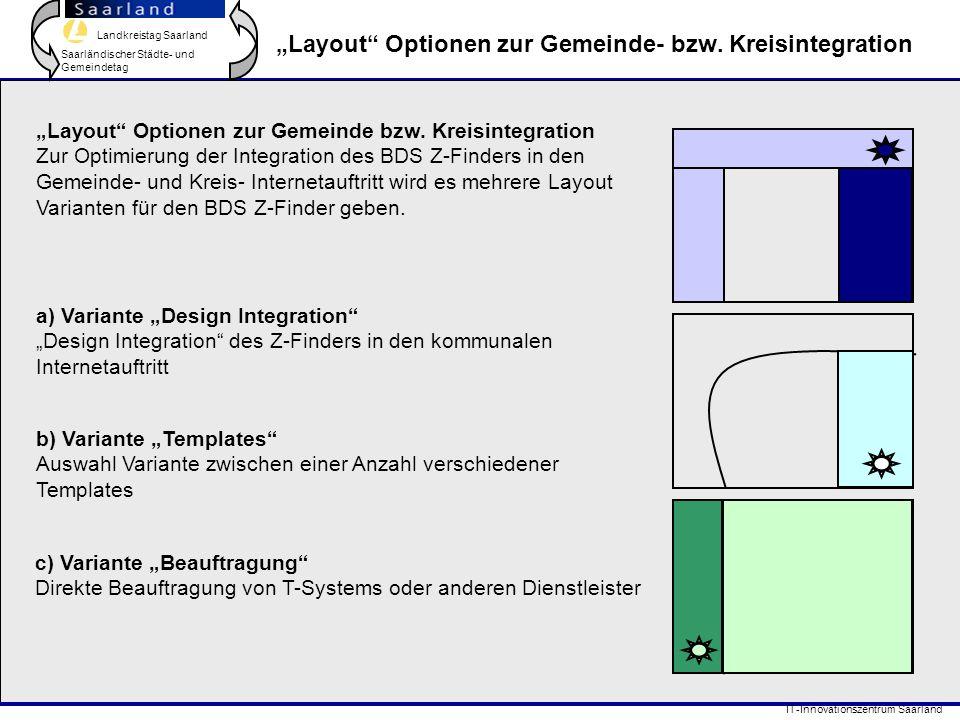 """Landkreistag Saarland Saarländischer Städte- und Gemeindetag IT-Innovationszentrum Saarland """"Layout"""" Optionen zur Gemeinde- bzw. Kreisintegration """"Lay"""