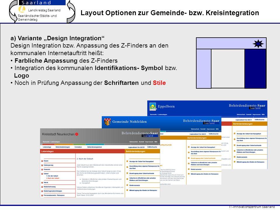 Landkreistag Saarland Saarländischer Städte- und Gemeindetag IT-Innovationszentrum Saarland Layout Optionen zur Gemeinde- bzw. Kreisintegration a) Var