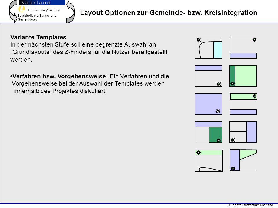Landkreistag Saarland Saarländischer Städte- und Gemeindetag IT-Innovationszentrum Saarland Layout Optionen zur Gemeinde- bzw. Kreisintegration Varian