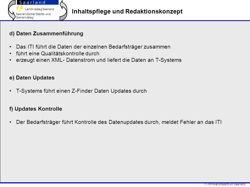 Landkreistag Saarland Saarländischer Städte- und Gemeindetag IT-Innovationszentrum Saarland Inhaltspflege und Redaktionskonzept e) Daten Updates T-Sys