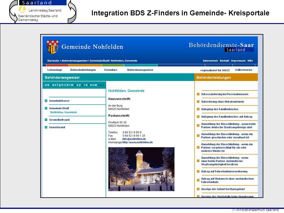 Landkreistag Saarland Saarländischer Städte- und Gemeindetag IT-Innovationszentrum Saarland Integration BDS Z-Finders in Gemeinde- Kreisportale