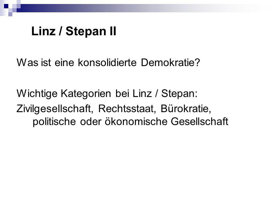 Linz / Stepan II Was ist eine konsolidierte Demokratie.