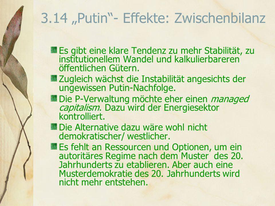 """3.14 """"Putin - Effekte: Zwischenbilanz Es gibt eine klare Tendenz zu mehr Stabilität, zu institutionellem Wandel und kalkulierbareren öffentlichen Gütern."""