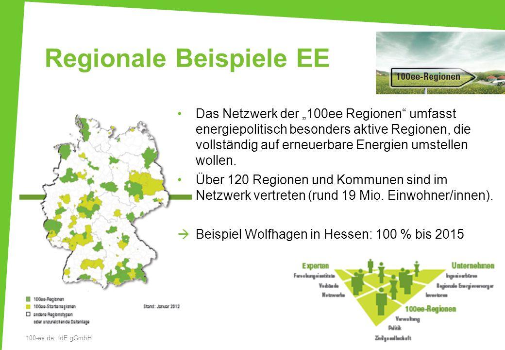 """Regionale Beispiele EE Das Netzwerk der """"100ee Regionen umfasst energiepolitisch besonders aktive Regionen, die vollständig auf erneuerbare Energien umstellen wollen."""