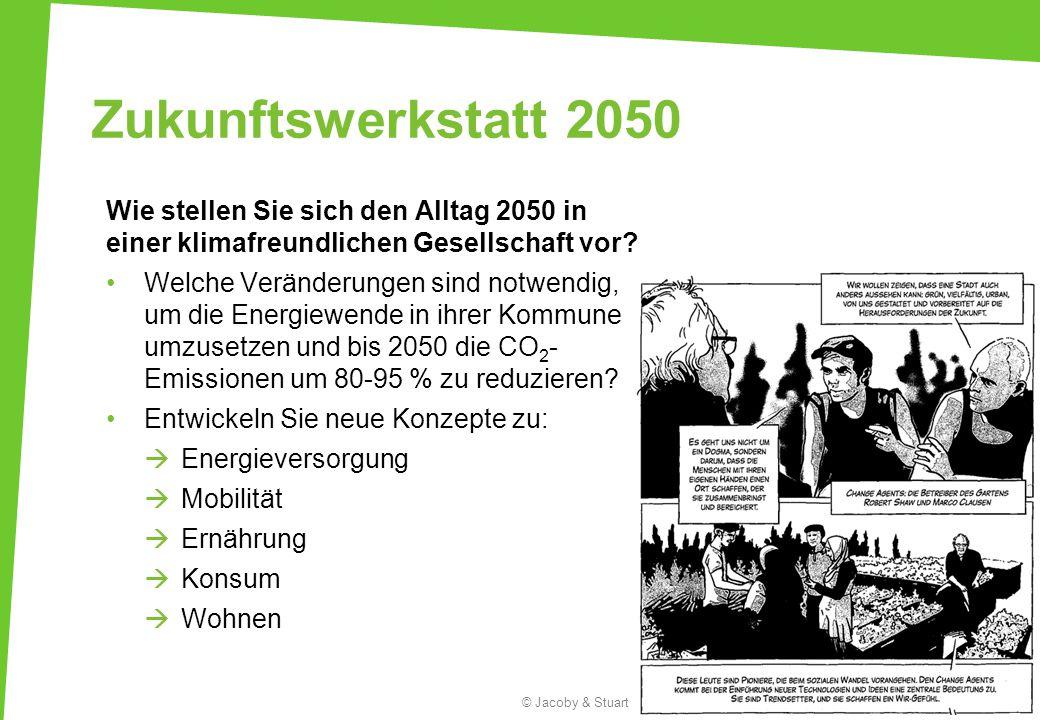 Zukunftswerkstatt 2050 Wie stellen Sie sich den Alltag 2050 in einer klimafreundlichen Gesellschaft vor? Welche Veränderungen sind notwendig, um die E