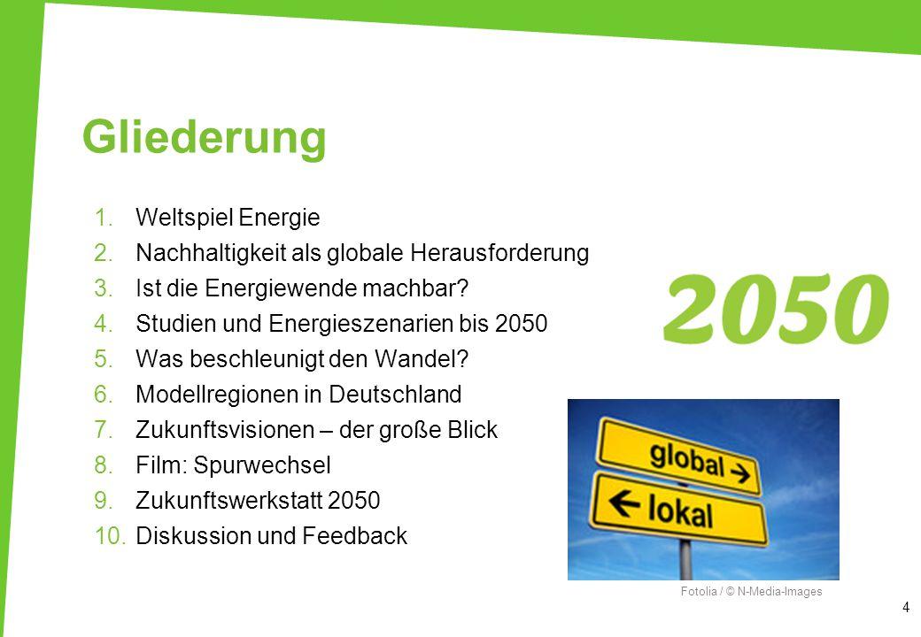 Gliederung 1.Weltspiel Energie 2.Nachhaltigkeit als globale Herausforderung 3.Ist die Energiewende machbar? 4.Studien und Energieszenarien bis 2050 5.