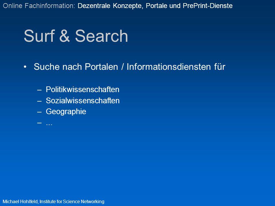 Surf & Search Suche nach Portalen / Informationsdiensten für –Politikwissenschaften –Sozialwissenschaften –Geographie –... Michael Hohlfeld, Institute
