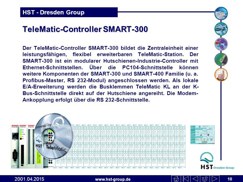 www.hst-group.de HST - Dresden Group TeleMatic-Controller SMART-300 Der TeleMatic-Controller SMART-300 bildet die Zentraleinheit einer leistungsfähigen, flexibel erweiterbaren TeleMatic-Station.